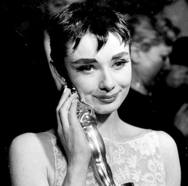 Audrey Hepburn with her Best Actress Oscar for Roman Holiday on 25th March 1954.